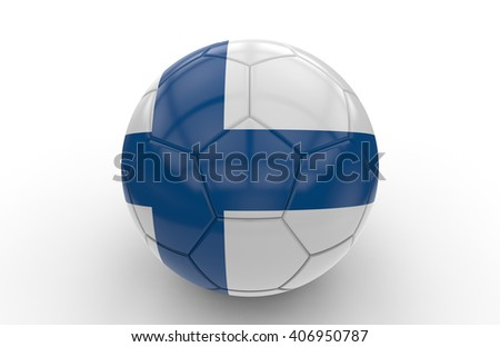 Soccer ball with Finland flag isolated on white background; 3d rendering