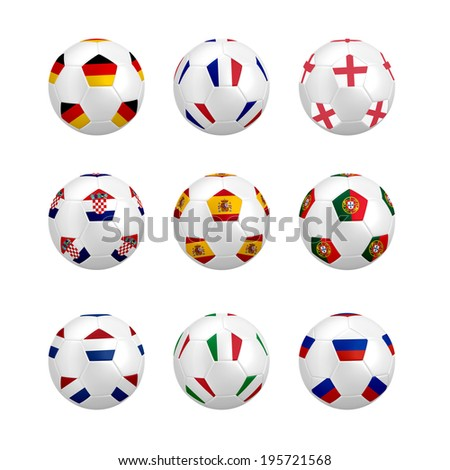 Soccer ball with flag isolated on white background (small version)