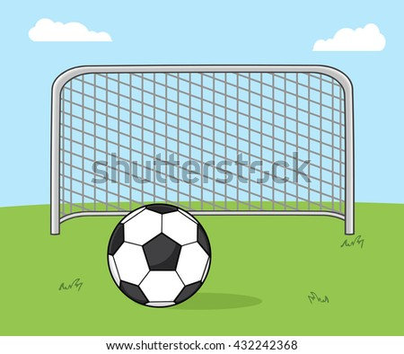 Soccer Ball With Football Gate. Raster Illustration With Background