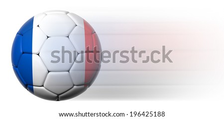 Soccer ball with French flag in motion isolated  - stock photo