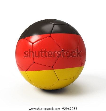 Soccer ball with German flag isolated on white - stock photo