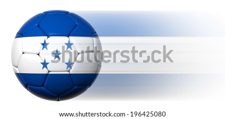 Soccer ball with Honduran flag in motion isolated