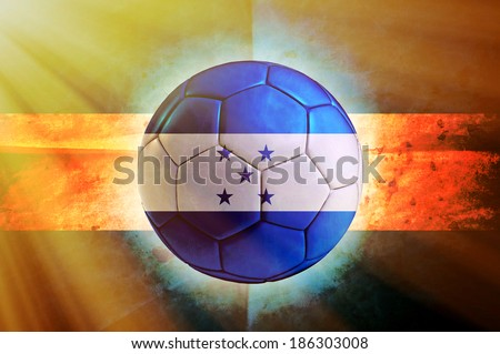 Soccer ball with Honduras flag as the background - stock photo