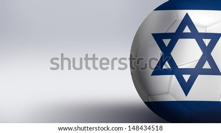 Soccer ball with Israel flag isolated on white  - stock photo