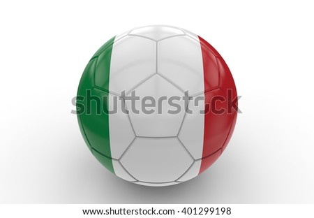 Soccer ball with italian flag isolated on white background: 3d rendering