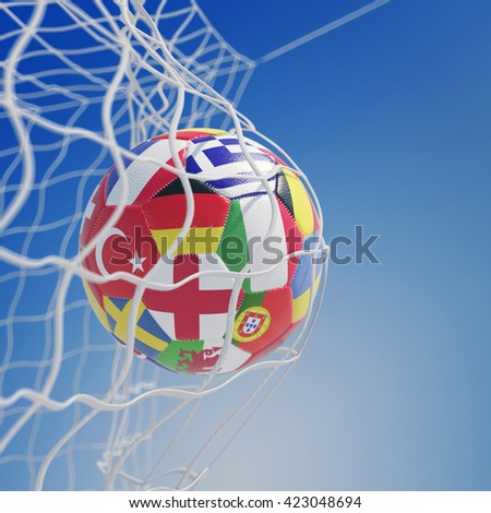 Soccer ball with many European country flags in goal net (3D Rendering)