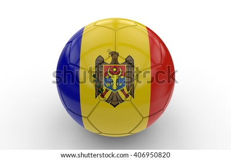 Soccer ball with Moldavia flag isolated on white background; 3d rendering - stock photo