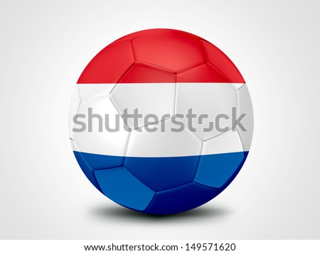 Soccer ball with Netherlands flag isolated on white - stock photo