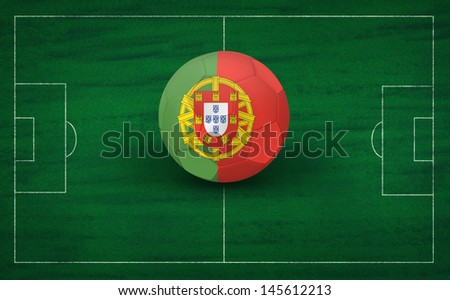 Soccer ball with Portugal flag on the soccer field