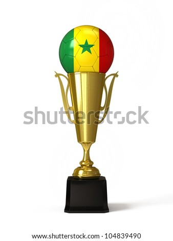 Soccer ball with Senegal flag, on golden trophy cup