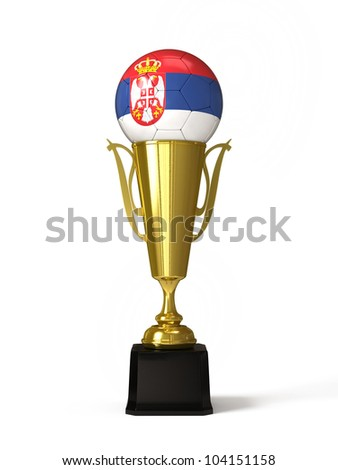 Soccer ball with Serbian flag, on golden trophy cup - stock photo