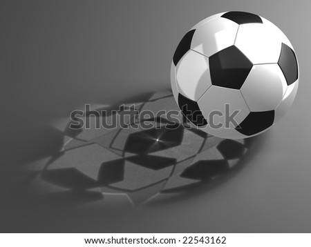 Soccer ball with shadows of the stars - stock photo