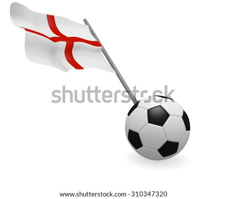 Soccer ball with the flag of England on a white background - stock photo