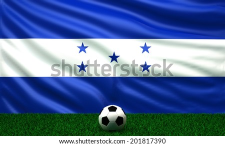soccer ball with the flag of Honduras - stock photo
