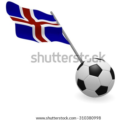 Soccer ball with the flag of Iceland on a white background - stock photo