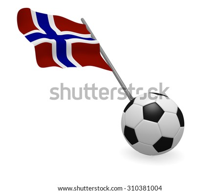 Soccer ball with the flag of Norway on a white background - stock photo