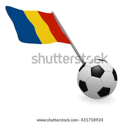 Soccer ball with the flag of Romania on a white background - stock photo
