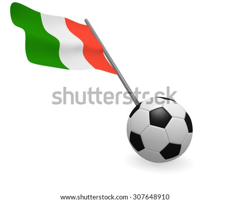 Soccer ball with the Italian flag on a white background - stock photo