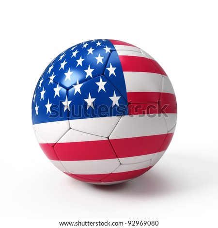 Soccer ball with United States flag isolated on white - stock photo