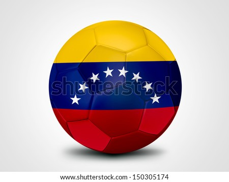 Soccer ball with Venezuela flag isolated on white - stock photo