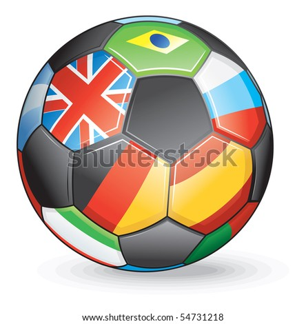 Soccer ball with world flags-vector at portfolio - stock photo