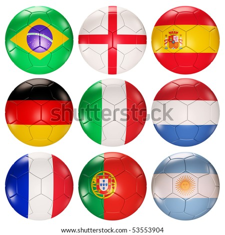 Soccer balls flags of top ranked countries 3d render