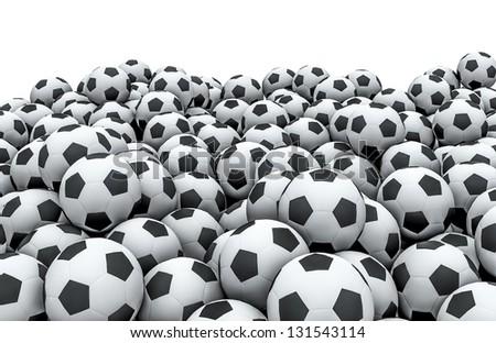 Soccer balls pile - stock photo