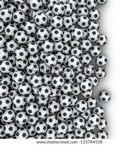Soccer balls spill - stock photo