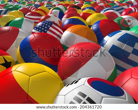 Soccer balls with flags of national teams - stock photo