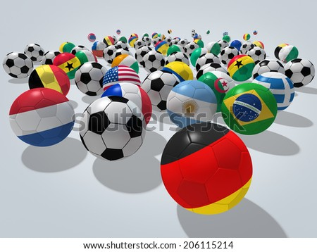 Soccer balls with flags of national teams. Image contain clipping path. - stock photo