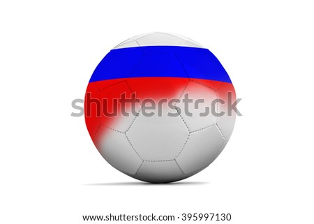 Soccer balls with team flags, Football Euro 2016. Group B, Russia- clipping path