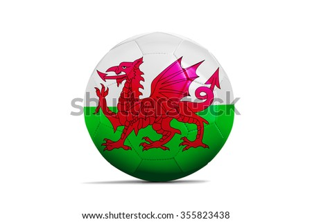 Soccer balls with team flags, Football Euro 2016. Group B, Wales - clipping path - stock photo