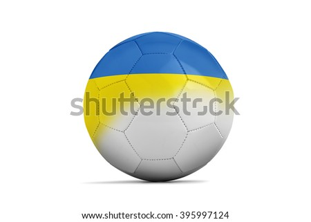 Soccer balls with team flags, Football Euro 2016. Group C, Ukraine- clipping path