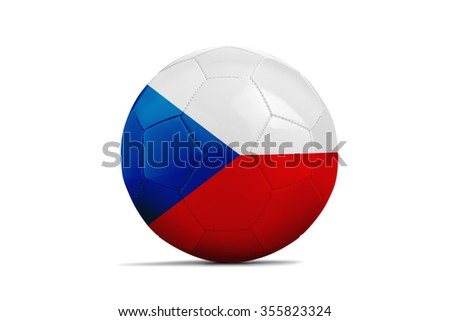 Soccer balls with team flags, Football Euro 2016. Group D, Czech republic- clipping path - stock photo