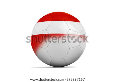 Soccer balls with team flags, Football Euro 2016. Group F, Austria- clipping path