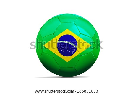 Soccer balls with teams flags, Football Brazil 2014. Group A, Brazil