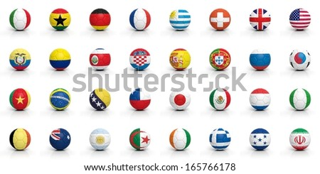 Soccer balls with various flags isolated on white - stock photo