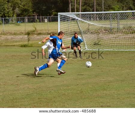 Soccer breakaway - stock photo