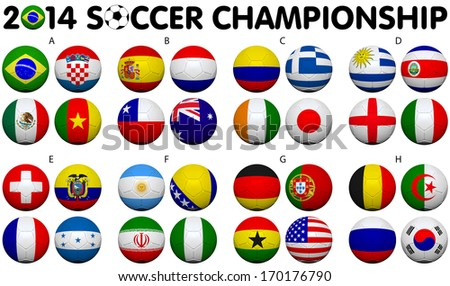 Soccer Championship 2014. Brazil. Groups A to H. 32 nation flags. 3d soccer ball design. - stock photo