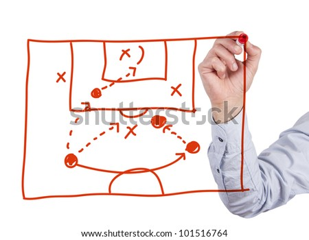 soccer coach drawing strategy plan - stock photo