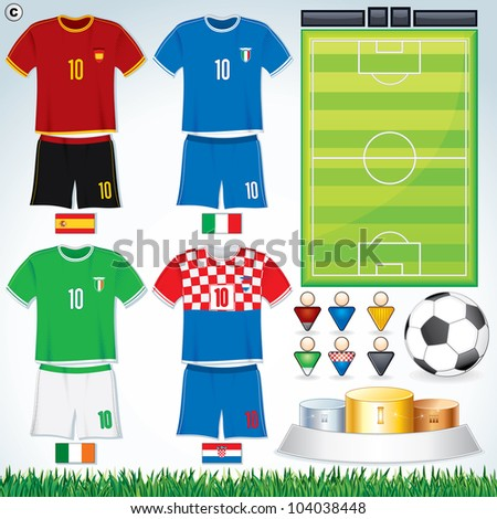 Soccer Collection. Euro 2012 Group C. Abstract National Football Uniform with Variety Objects. - stock photo