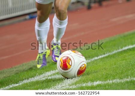 Soccer corner kick - stock photo