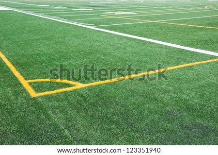 Soccer corner on college American football field - stock photo