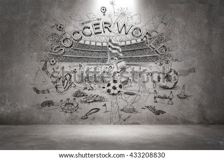 soccer doodle wall - stock photo