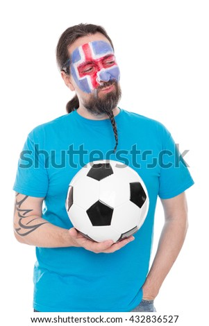 Soccer fan from Iceland with a Football in his hand, isolated on white