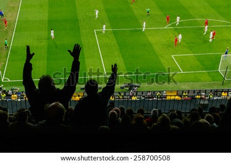 Soccer fans in a match. Furious spectators complaint about a bad decision of the referee. soccer supporters excitement - stock photo
