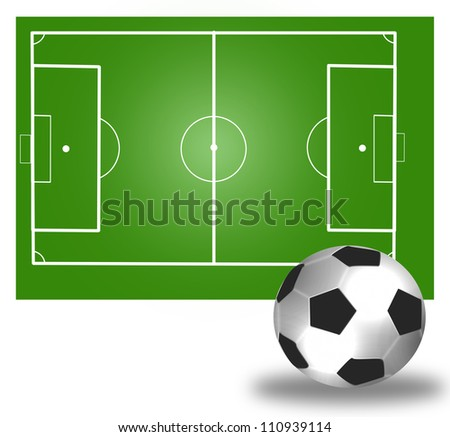 Soccer field and  ball - stock photo