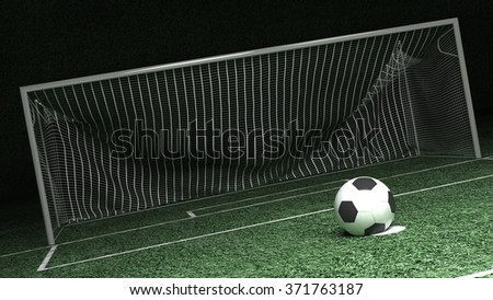 Soccer field and ball in penalty point