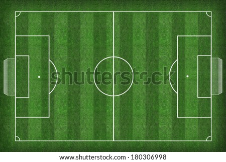 Soccer field and soccer ball - illustration  - stock photo