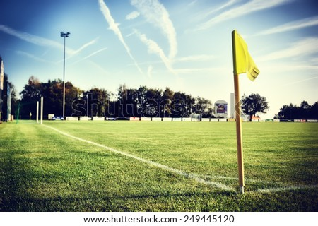 Soccer field at sunny summer day (football field) - stock photo